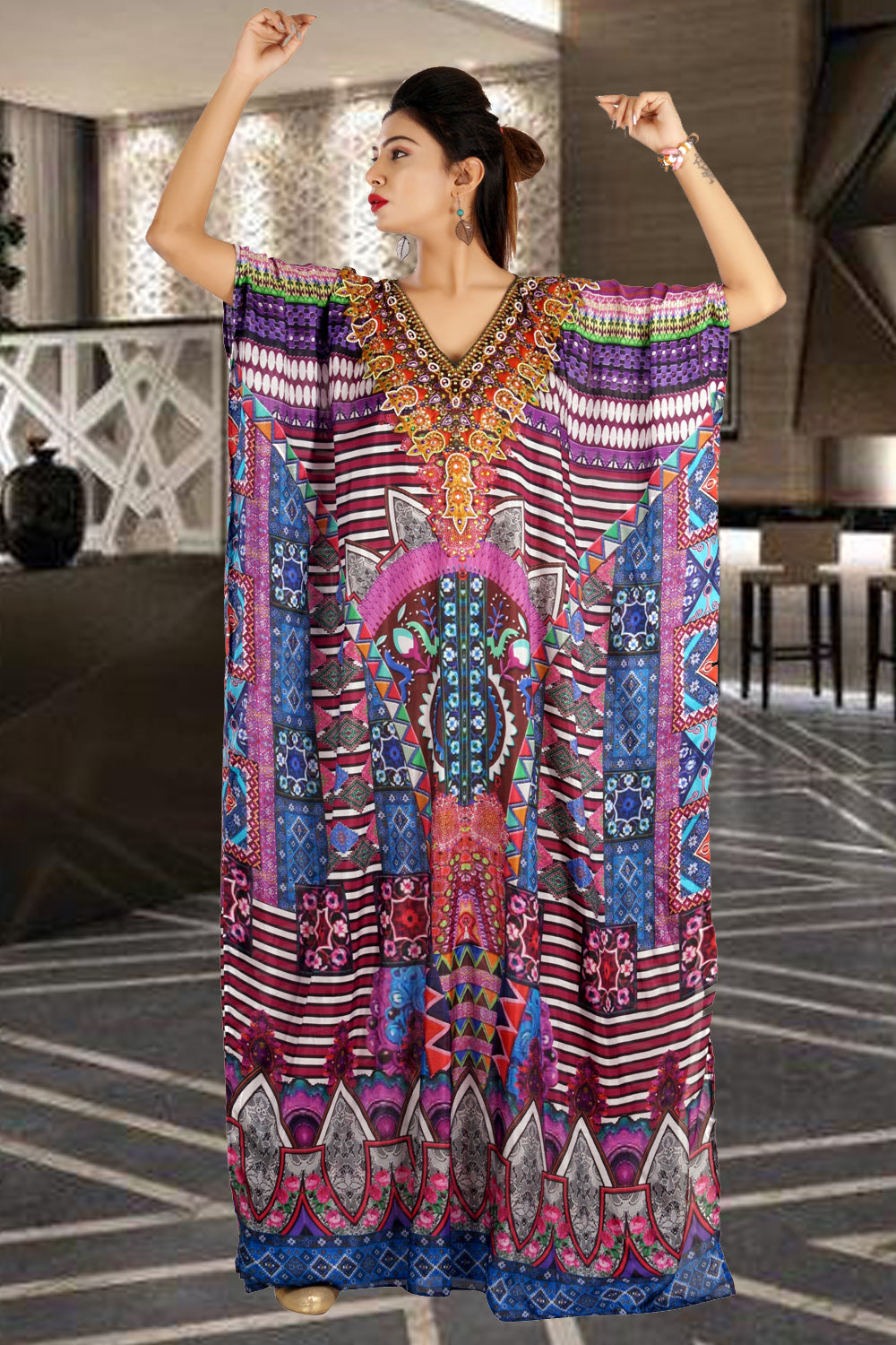 Beach party caftan designer silk kaftan cruise wear kaftan luxury resort wear kaftan - Silk kaftan