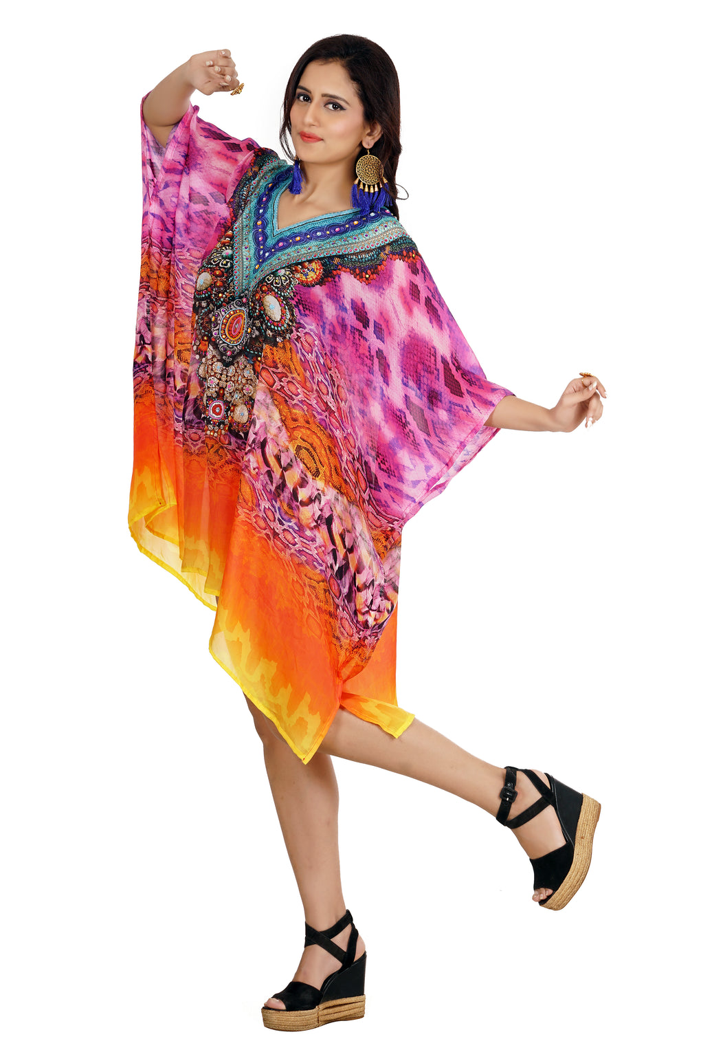 Short Unique Design Feminine Silk Kaftan with Classic Cami Straps printed all over for a formal look - Silk kaftan