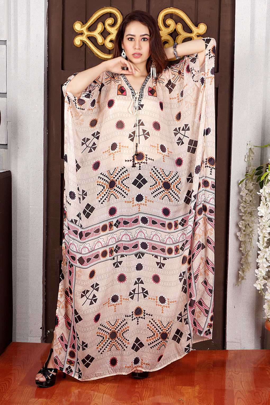 Lace Up Centre front digitally printed Ethnic Geometric Print over Pure Silk Kaftan of full length and styled side splits Luxe beach kaftan - Silk kaftan