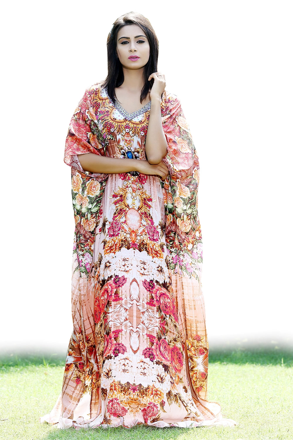 Silk Maxi Dress La Belle V Neck Kaftan Digitally printed silk Neckline crystals exotic aesthetic - Silk kaftan