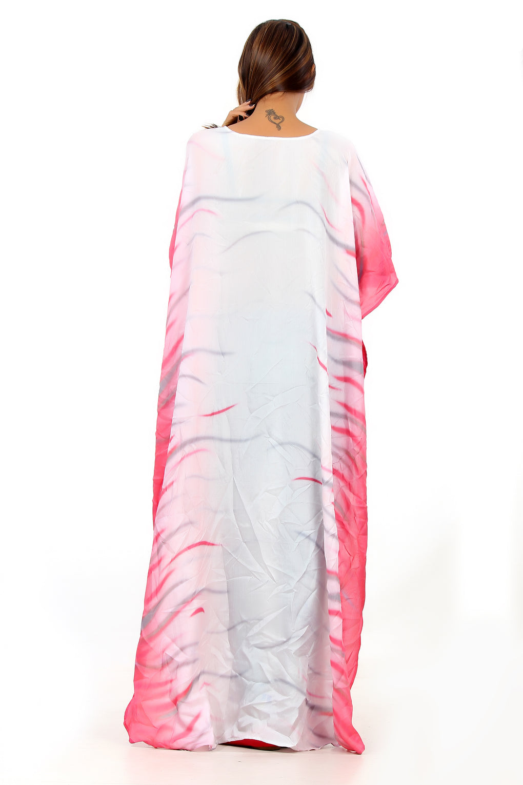 Sequin patch on beautiful white and princess pink silk kaftan beach wear silk cover up kaftan