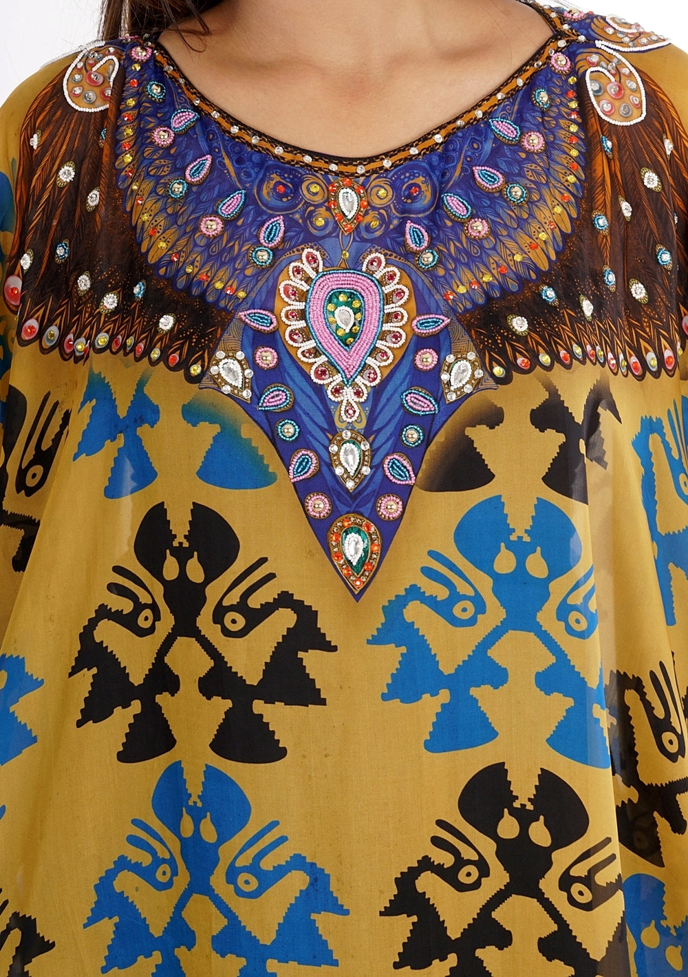 Eagle printed with light sequin effect neck and ancient silk kaftan. - Silk kaftan