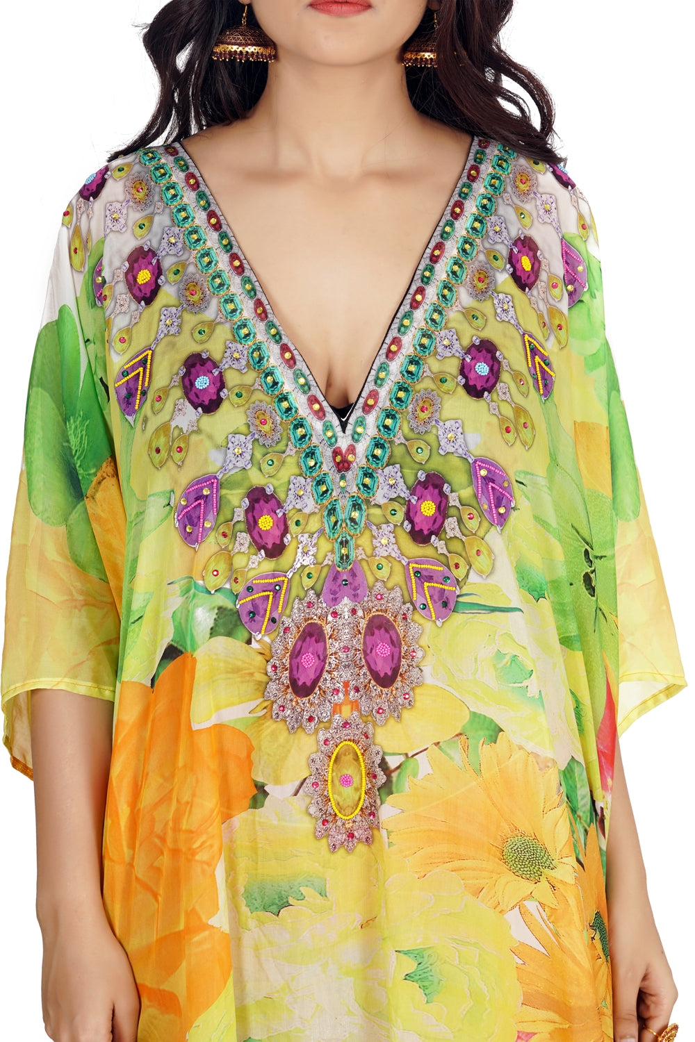 Enchanting Abstract Floral Silk Evening Kaftan in large Floral Pattern hand beaded silk caftan tunic - Silk kaftan