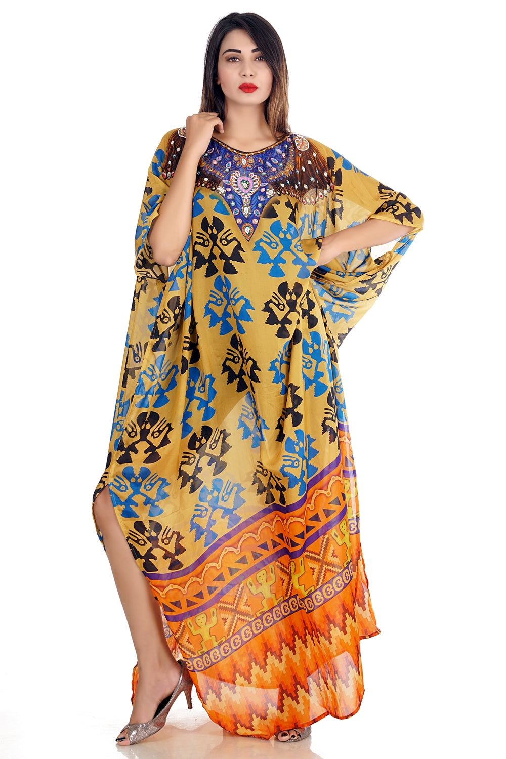 embellished kaftan dress
