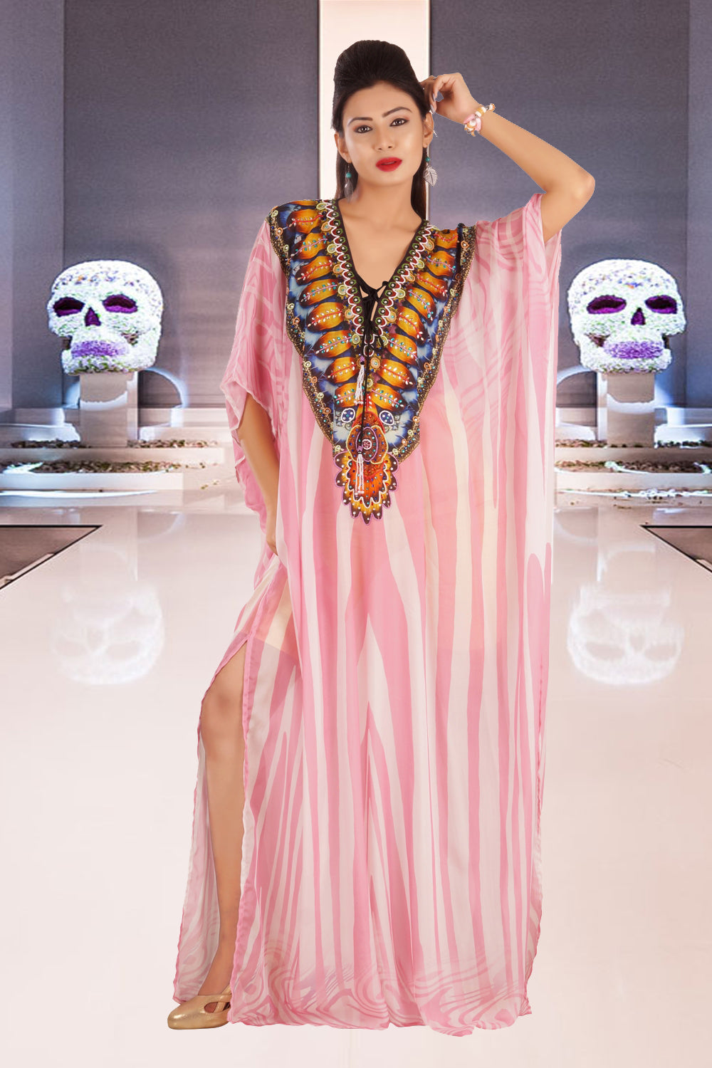 Lace up silk kaftan with pleasing Deep V-neck beaded and texture pool party kaftan - Silk kaftan