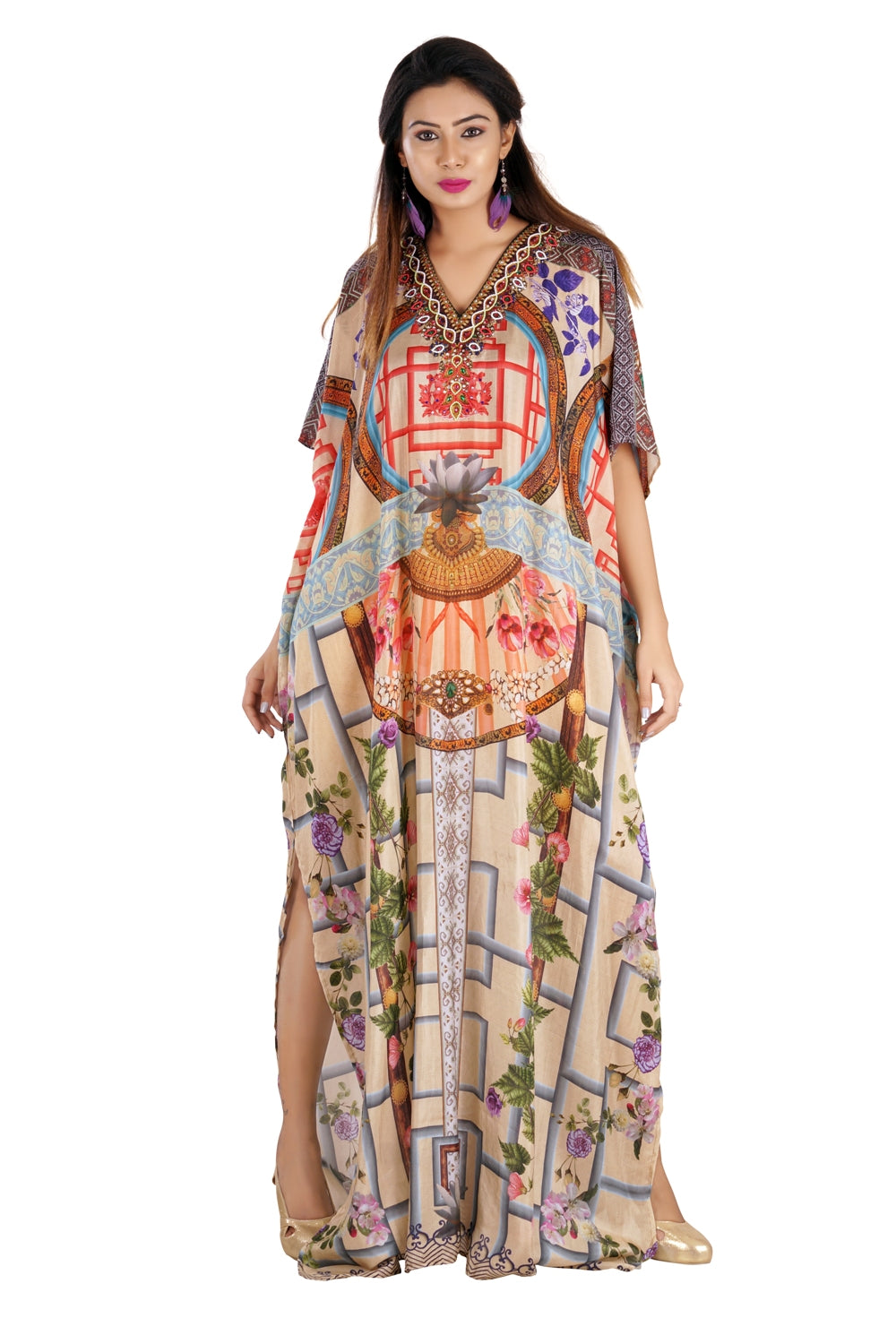 Custom Party Flora Print pool party Silk Kaftan with Contemporary look and beaded V Neck - Silk kaftan