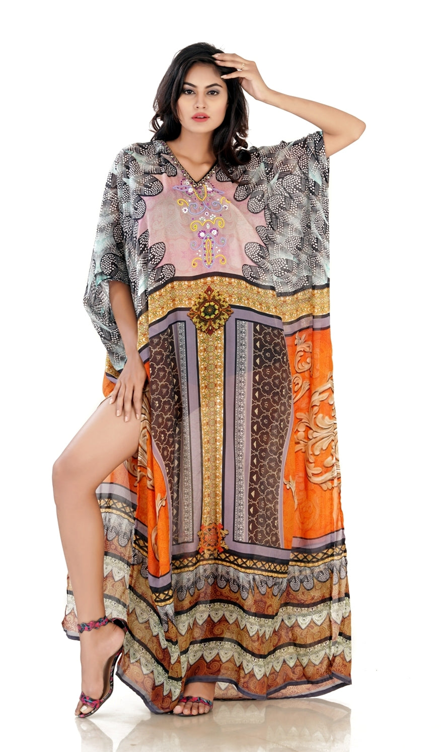 New Style Bold Feathery Silk Kaftan with bottom panel print and split ends vacation beach outfits