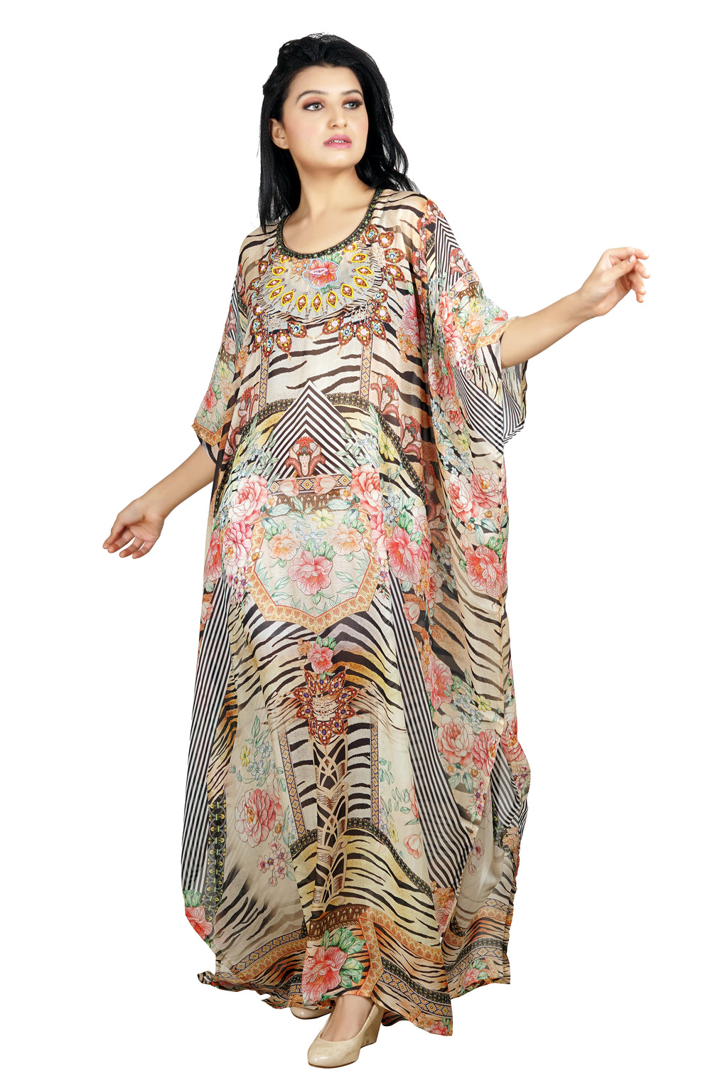 Vibrant mix of animalistic tiger print and floral print with amazing designer Round-neck Resort wear kaftan - Silk kaftan
