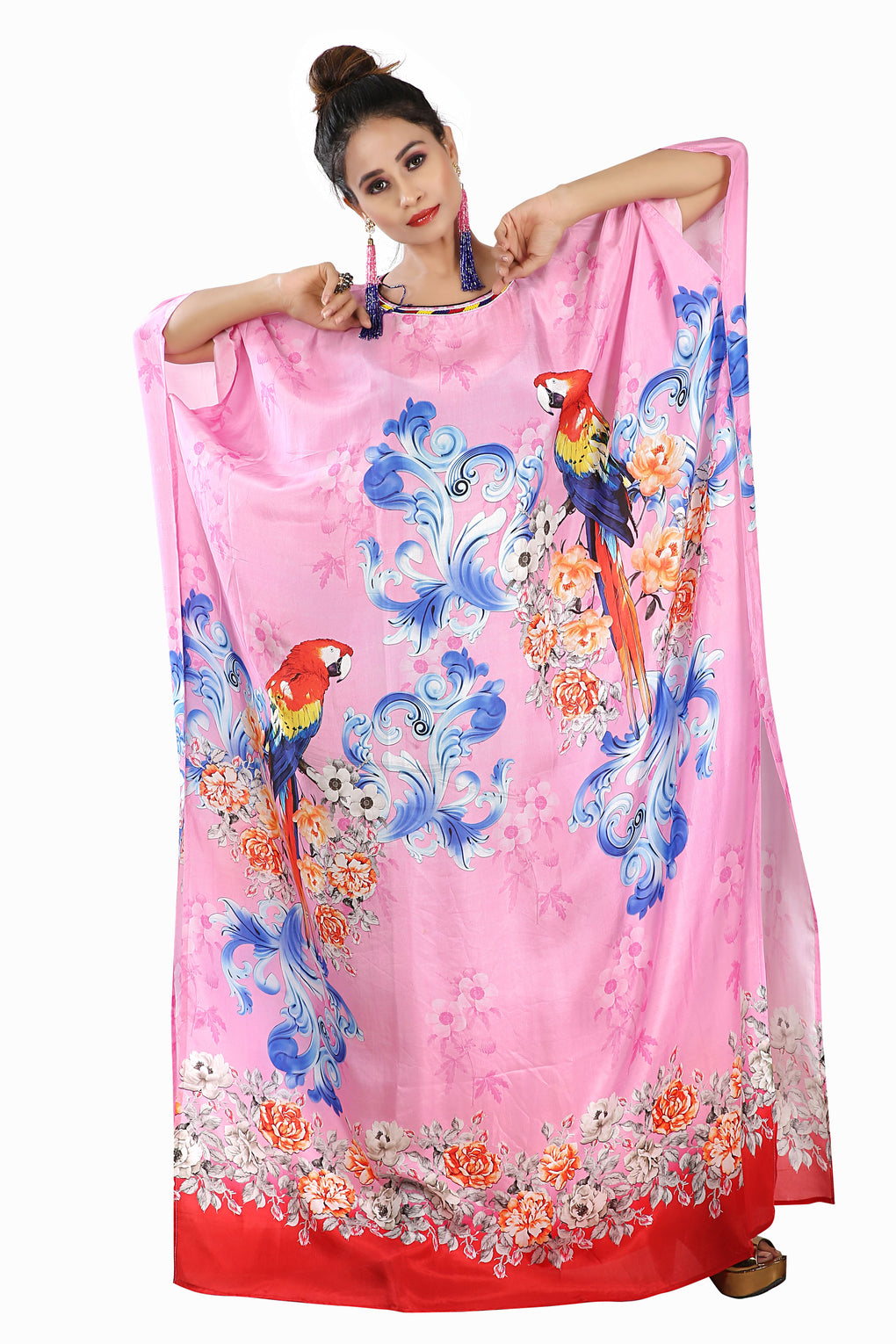 Pink colored bird print buy online silk kaftan