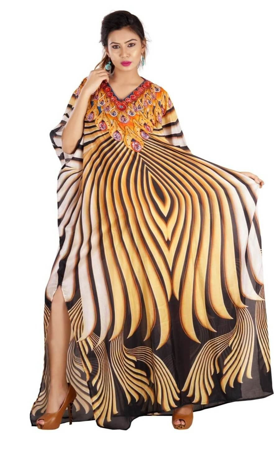 Adolescent Genre long Silk Kaftan highly inspired by Camouflage and Diamond print - Silk kaftan