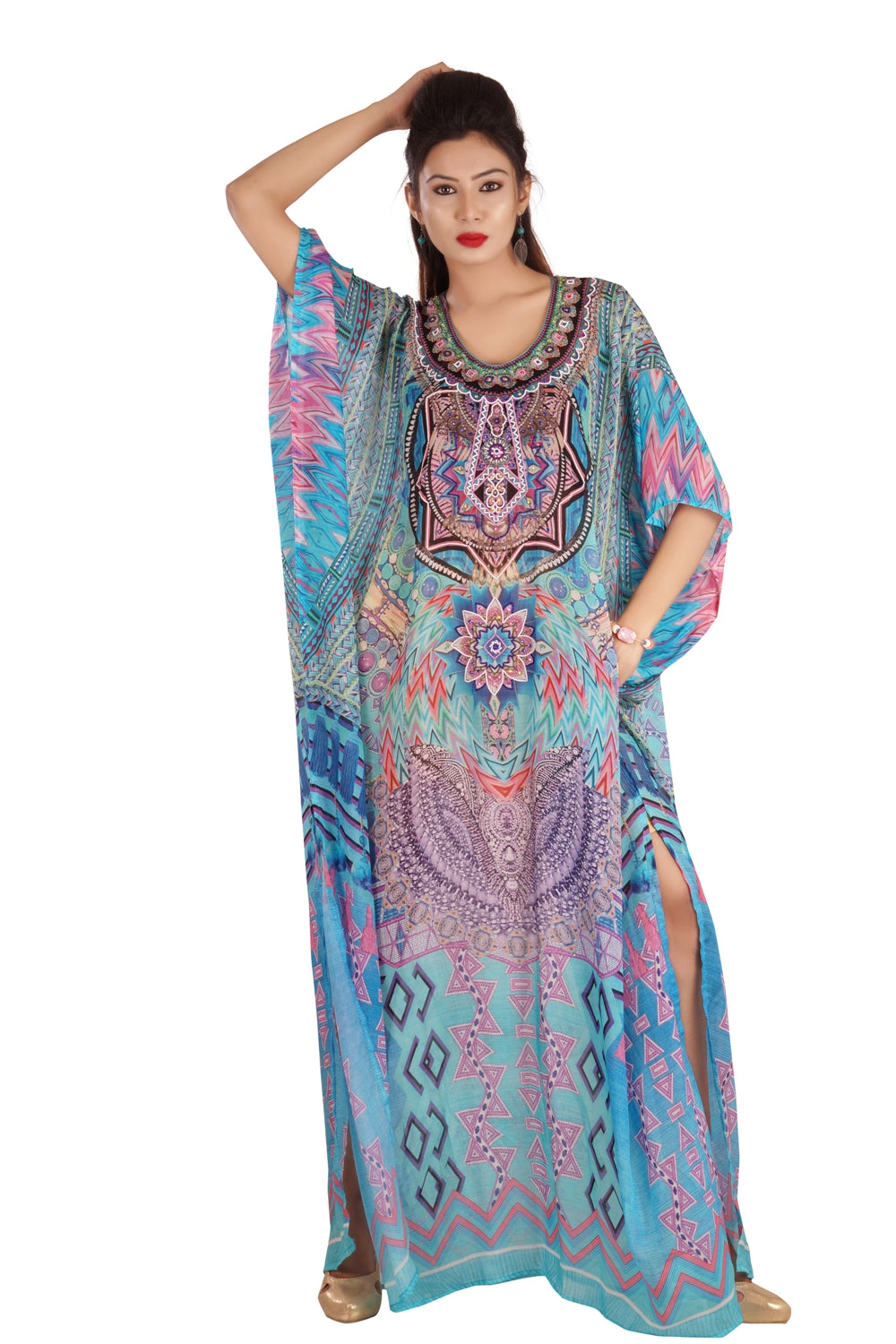 Skies' Blue Full Length Silk Kaftan marvelously printed geometric design/patterns luxe beach kaftan - Silk kaftan