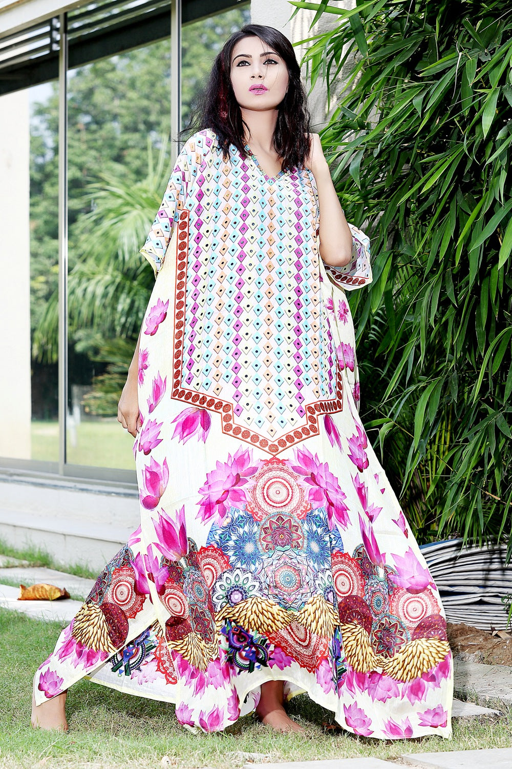 Lotus print with Geometric shapes over Long Silk Kaftan gown for Vogue and Iconic Look caftan - Silk kaftan
