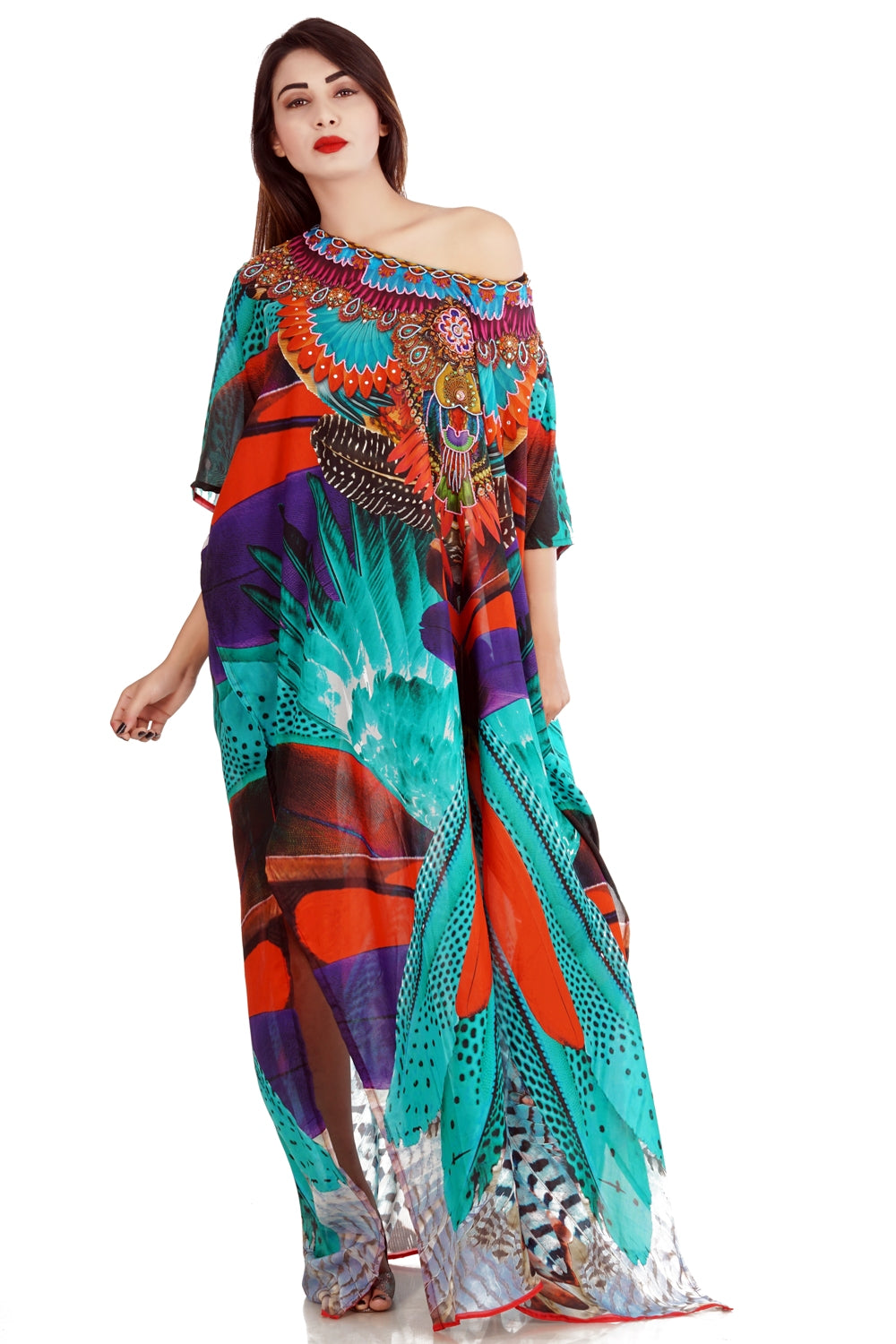 Exotic Feathers printed Silk Kaftan with charming elegiac print around neckline - Silk kaftan