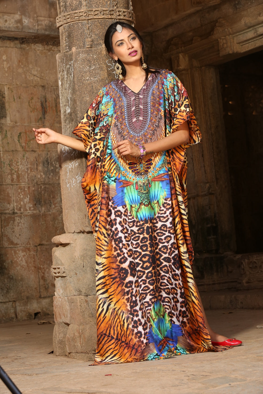 long silk kaftan dress