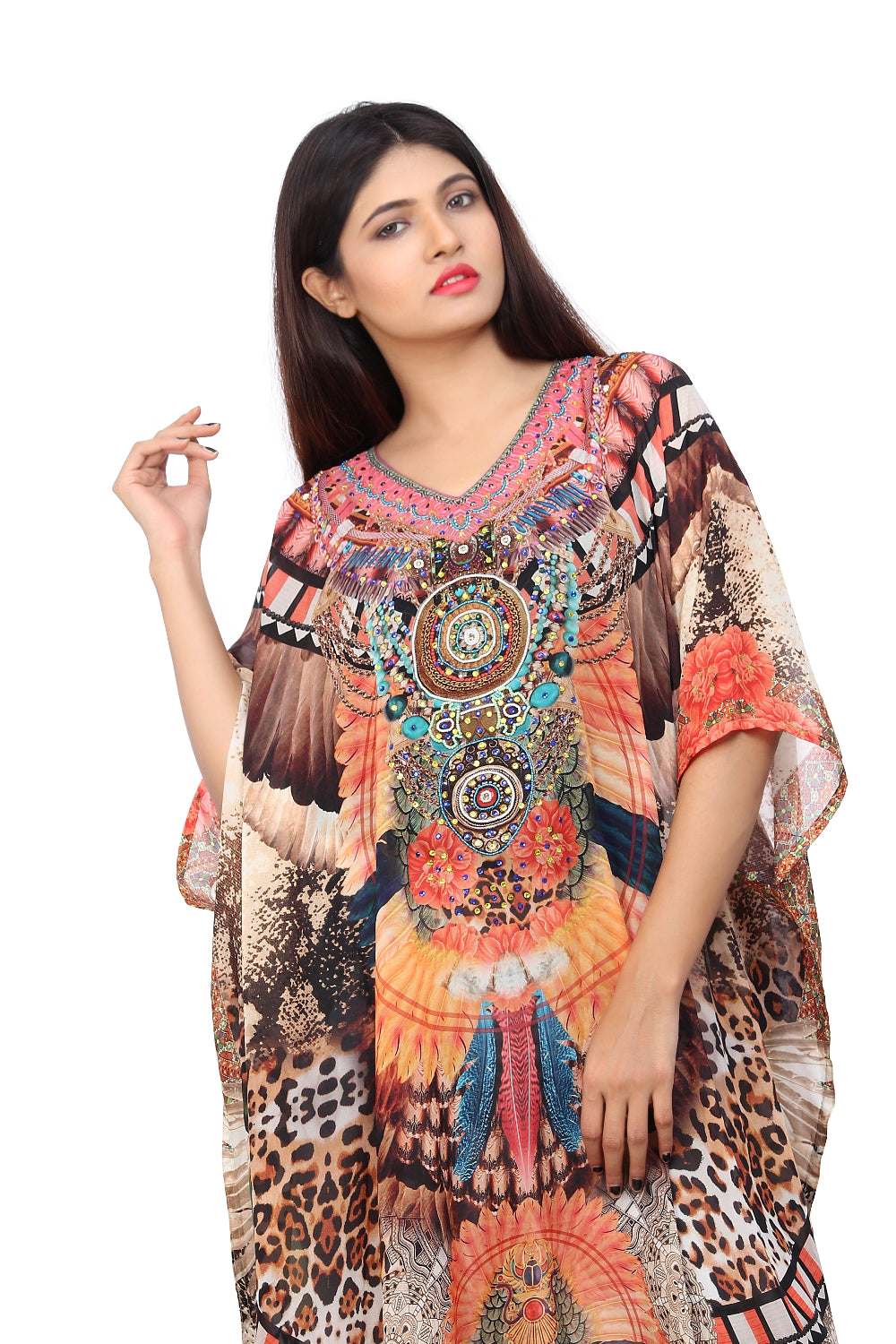 Silk Kaftan that showcase Nature love on it in the form of Animal Print with Tribe Luxe beach kaftan - Silk kaftan