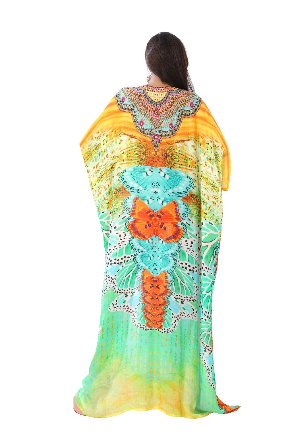 Happening Silk kaftan with bright look and laced up V neck beach wear embellished vacation beach outfits - Silk kaftan