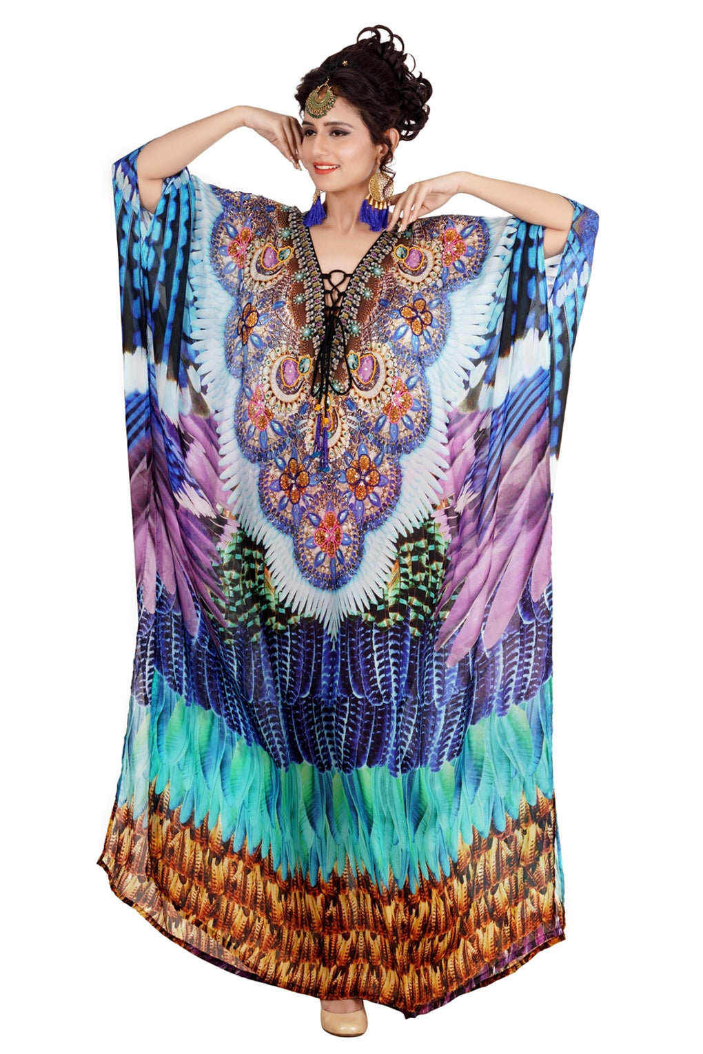 Beach Style Kaftan Cover with Combination of Sea Coral Print and laced up V Neck vacation beach kaftan - Silk kaftan