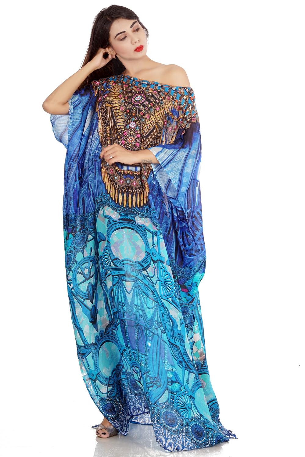 Inspired by Catchy Porcelain Print Uniquely Designed Turquoise Printed Silk Kaftans - Silk kaftan