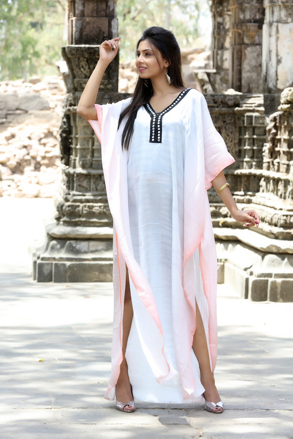 Heavily emblleshed maxi beach caftan long dressy/silk kaftan beach and resort wear hand made latest elegant kaftan fashion plus woman 129 - Silk kaftan