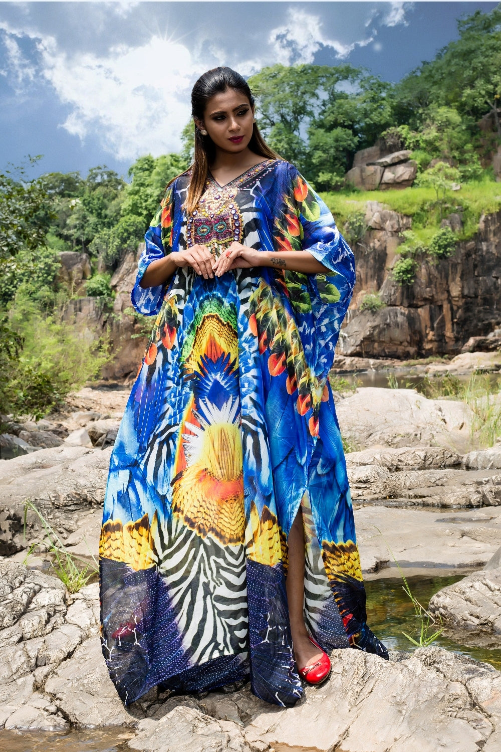 Attractive Feathers print featuring zebra patches with multicolored embellishments on Beach Cover ups - Silk kaftan