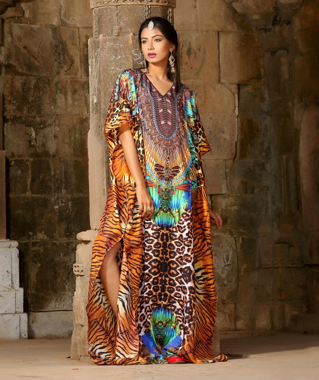 Plus size beach wear resort wear womens silk caftan swim wear kaftan