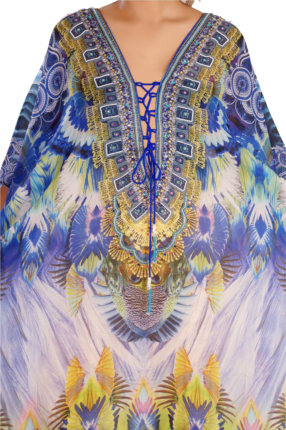 Sunflowers Circular Prints lace up silk kaftans