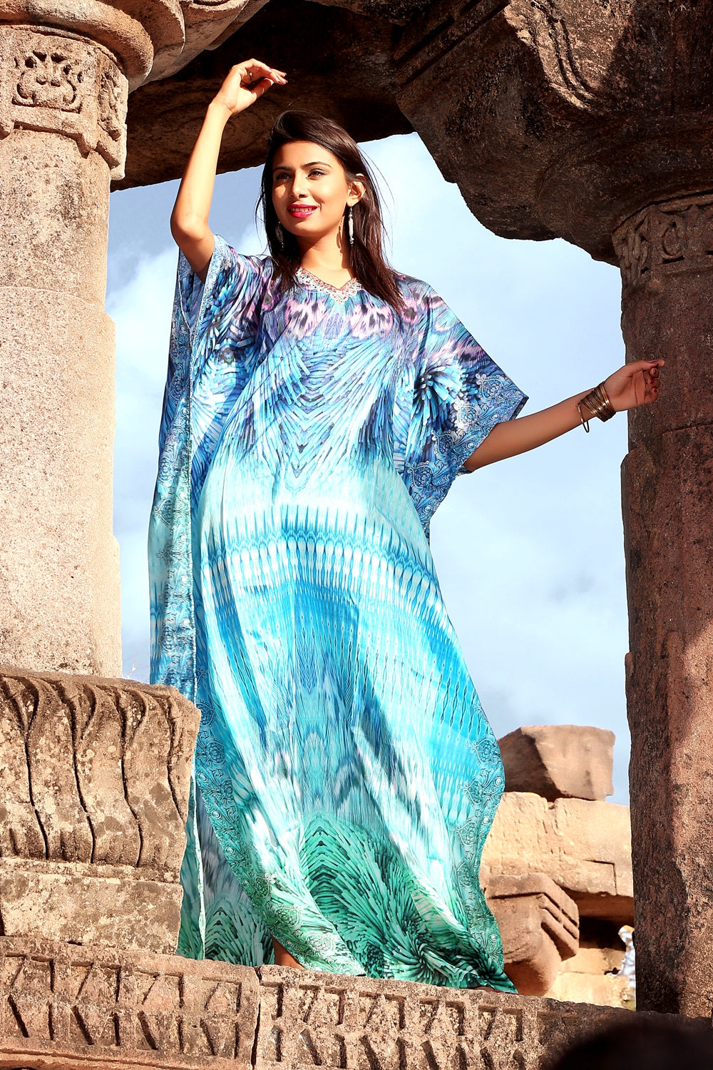 Feathers on Maxi long Kaftan with delicate embellishments of crystal beads giving sophisticated look - Silk kaftan