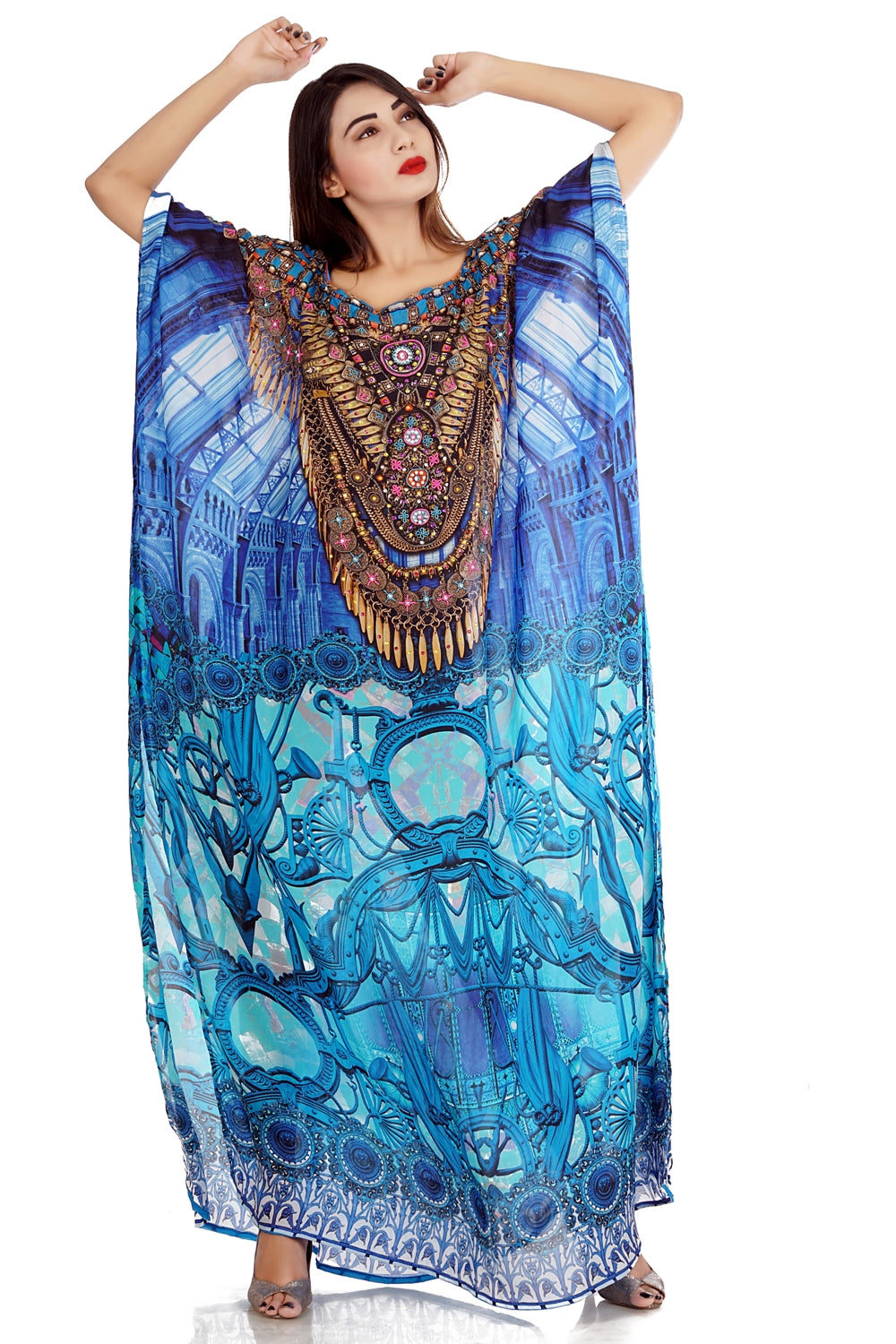 Inspired by Catchy Porcelain Print Uniquely Designed Turquoise Print - Silk kaftan