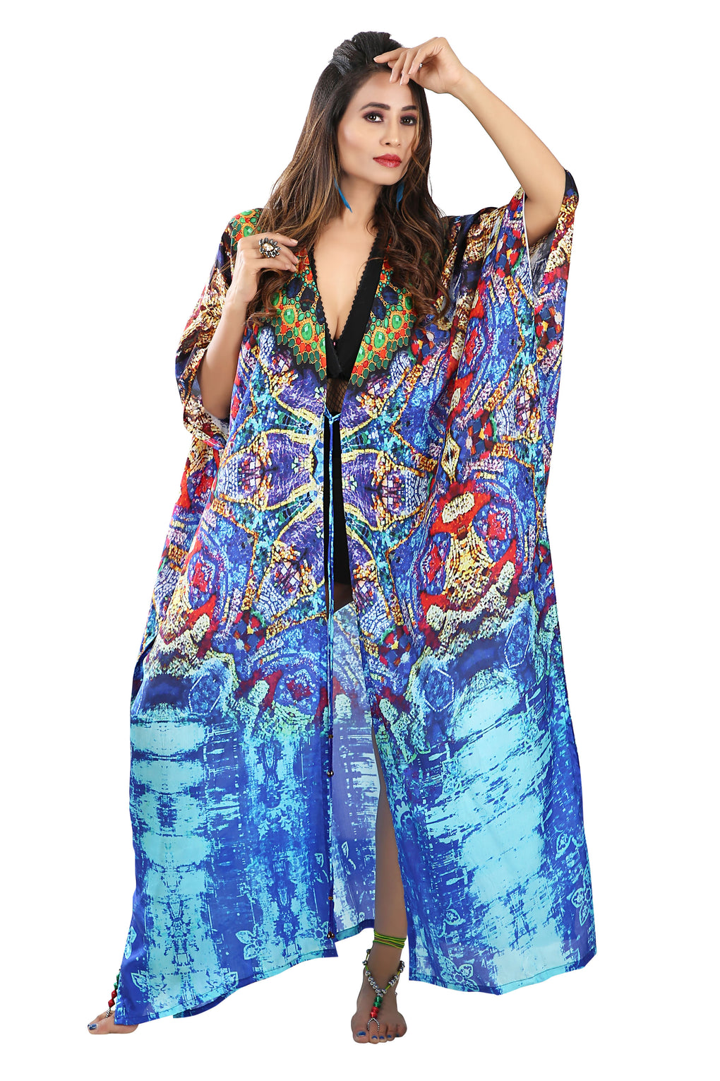 Blue colored animal print Beach Cover Up Holiday silk kimono Robe