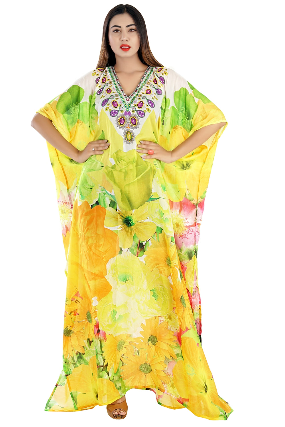 Enchanting Abstract Floral Silk Evening Kaftan in large Floral Pattern vacation beach outfits - Silk kaftan