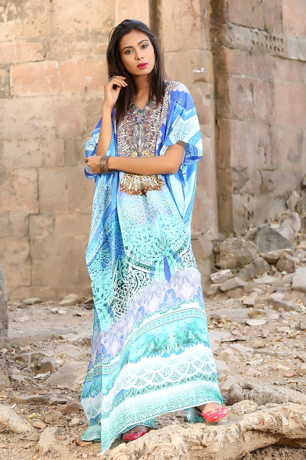 Feel the Seashore with enthusiastic Tropical Paradise printed Silk Long Kaftan - Silk kaftan