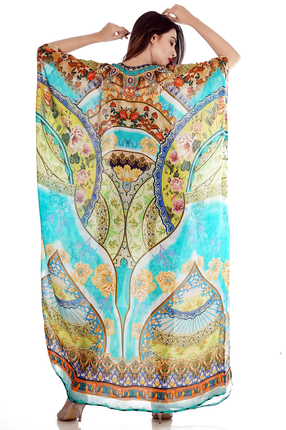 Floral_printed_colourful_Silk_long_kaftan.mp4