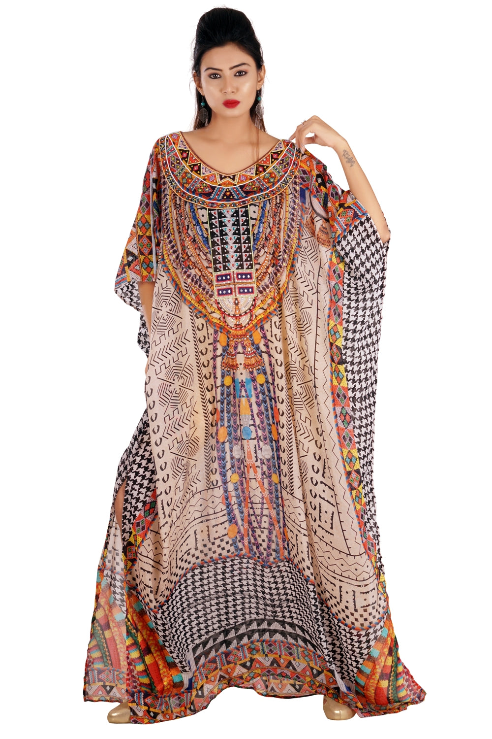 Self Expression Printed Silk Kaftan Cover-Ups with Geometric Patterns strewn over Luxe beach kaftan - Silk kaftan