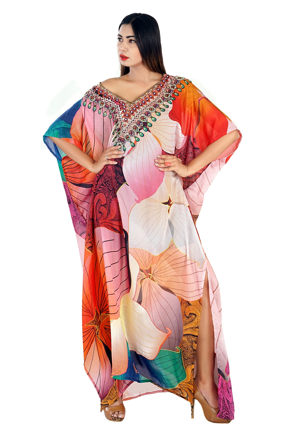High quality Abstract Floral printed Maxi kaftan dress with beads embedded over Neckline - Silk kaftan