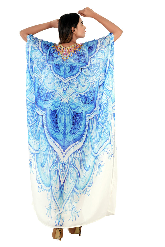 Ingenious Art Patterns printed spellbind Azure Blue Silk Kaftan accompanied beads - Silk kaftan