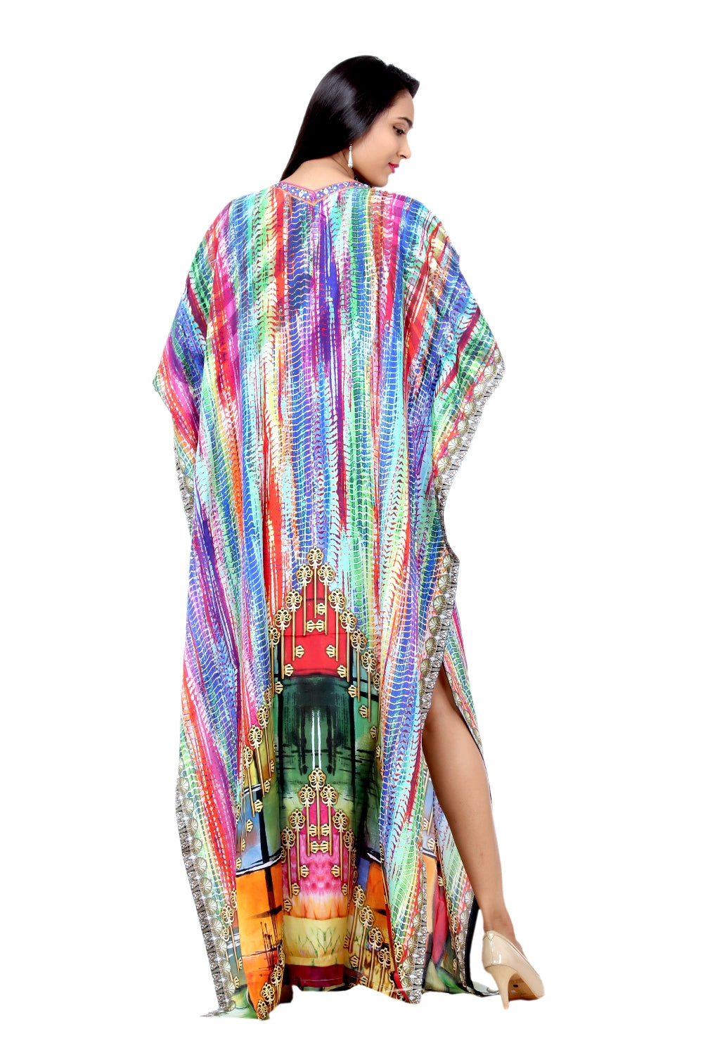 chiffon kaftan maxi dress