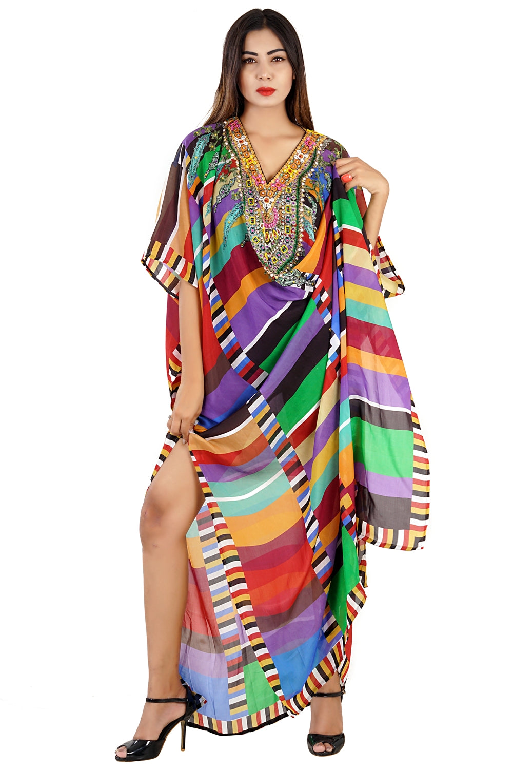 Colorful Beaded Silk Kaftan embellished with crystals beads patch work near neckline vacation beach outfits - Silk kaftan