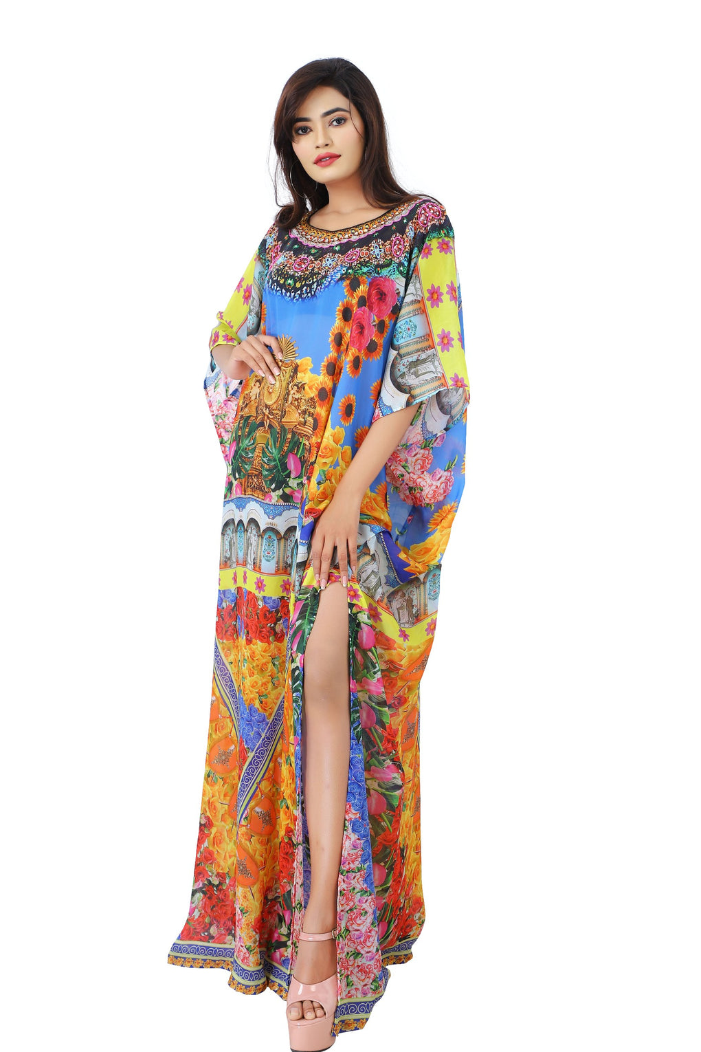 Backyard of fragrant flowers on Silk maxi long kaftan ornamented with beads - Silk kaftan