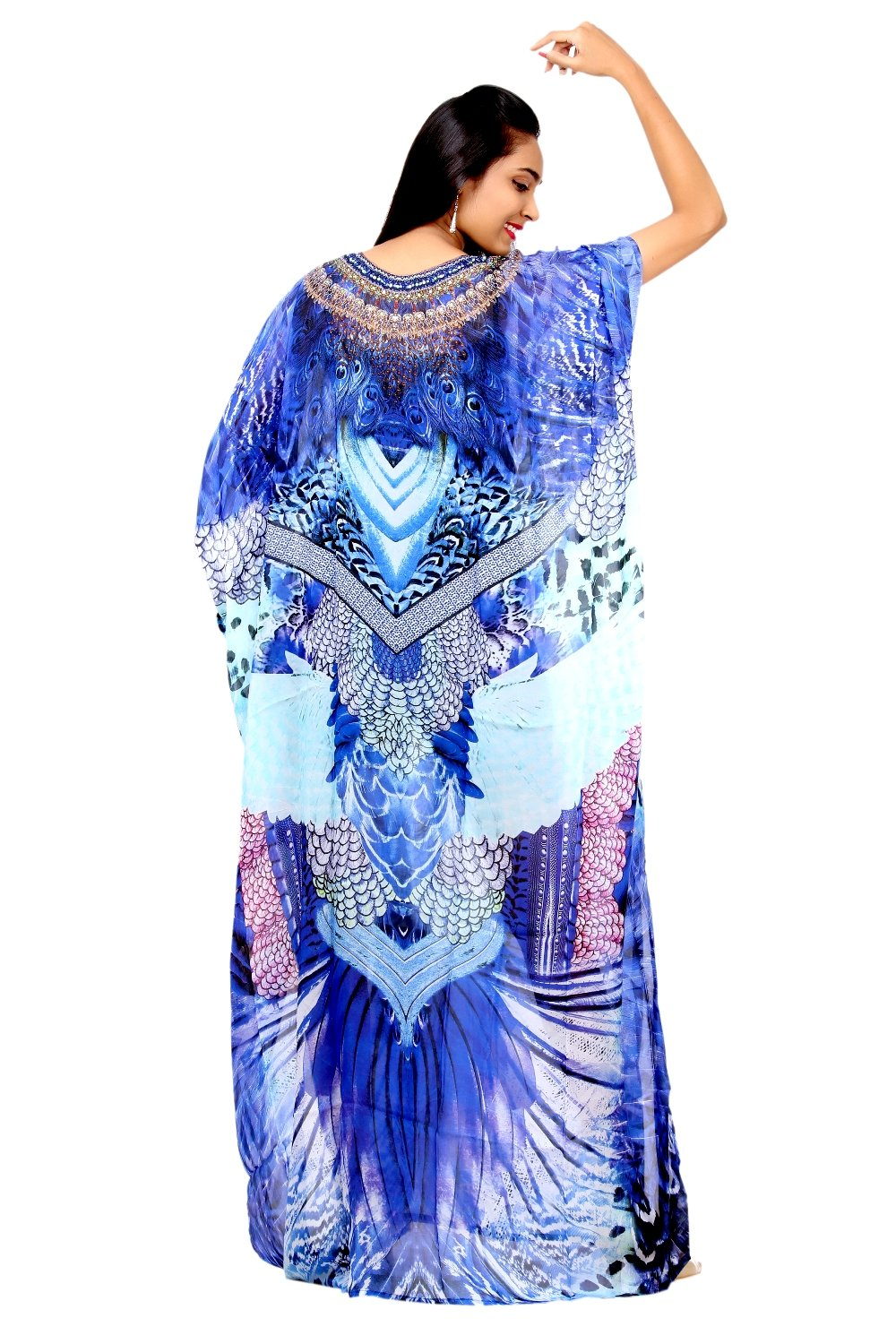 Experience the Splendor of rich Feathery Print Silk Kaftan with embroidered V Neck