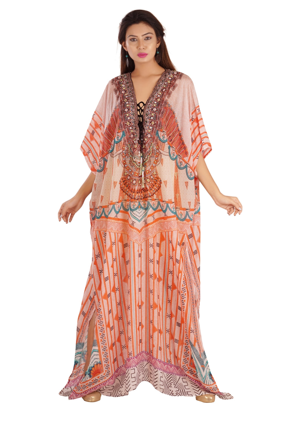 Orange Lace-up Silk Kaftan with Boho Design and Turkish Prints designer kaftan maxi dress - Silk kaftan