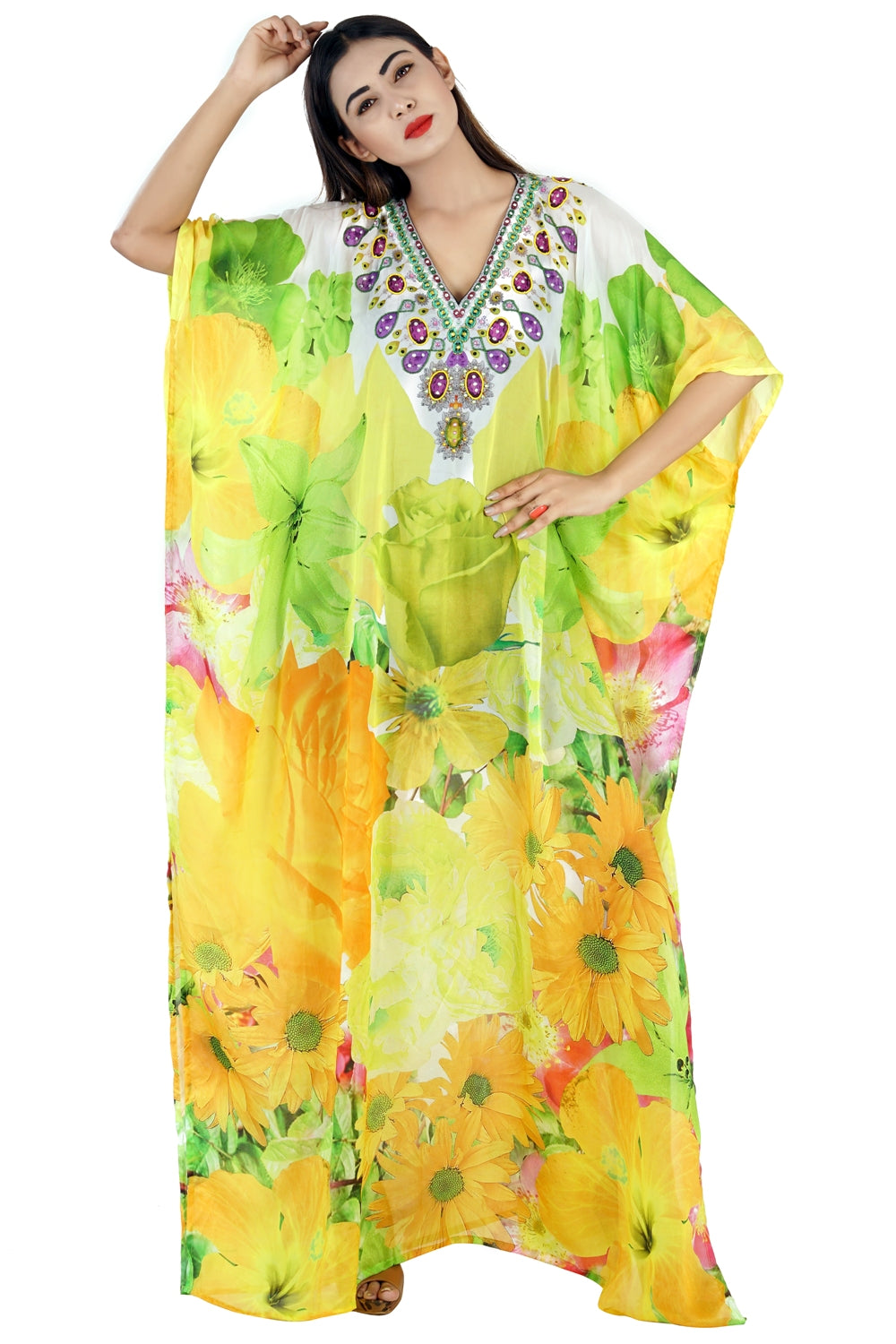 Floral Print kaftan swim wear caftan stunning beach dress silk kaftan maxi dress heavily embellished caftan - Silk kaftan