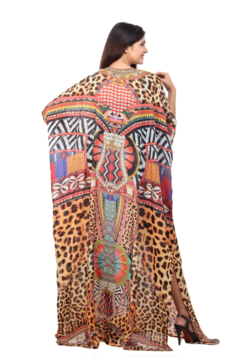 Soft and Downy alike Leopard print Long Designer Silk Kaftan with Clam-shell patterns pool party kaftan - Silk kaftan