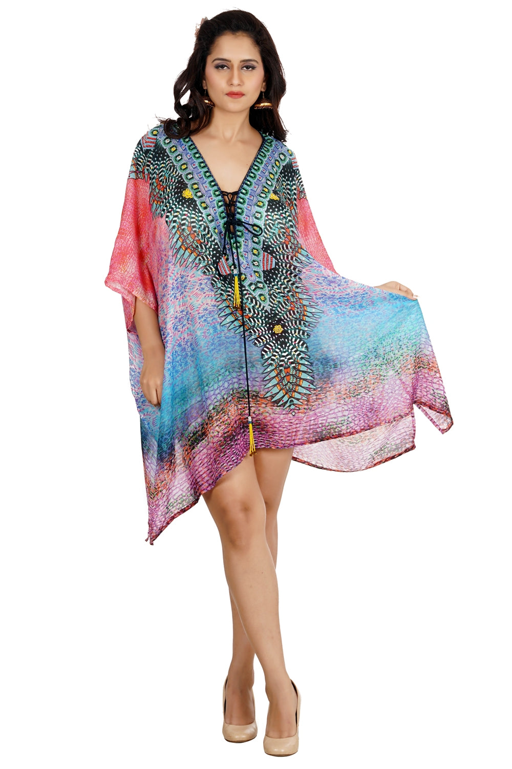 Silk caftan tunic deep neck heavily Embellishment short unique kaftan dress Womens Kaftan Dress - Silk kaftan