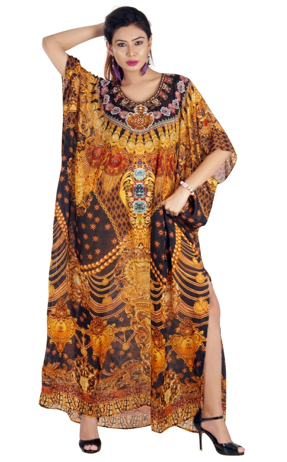 Divine Baroque Scroll Print over Silk Kaftan in golden color devotional style - Silk kaftan