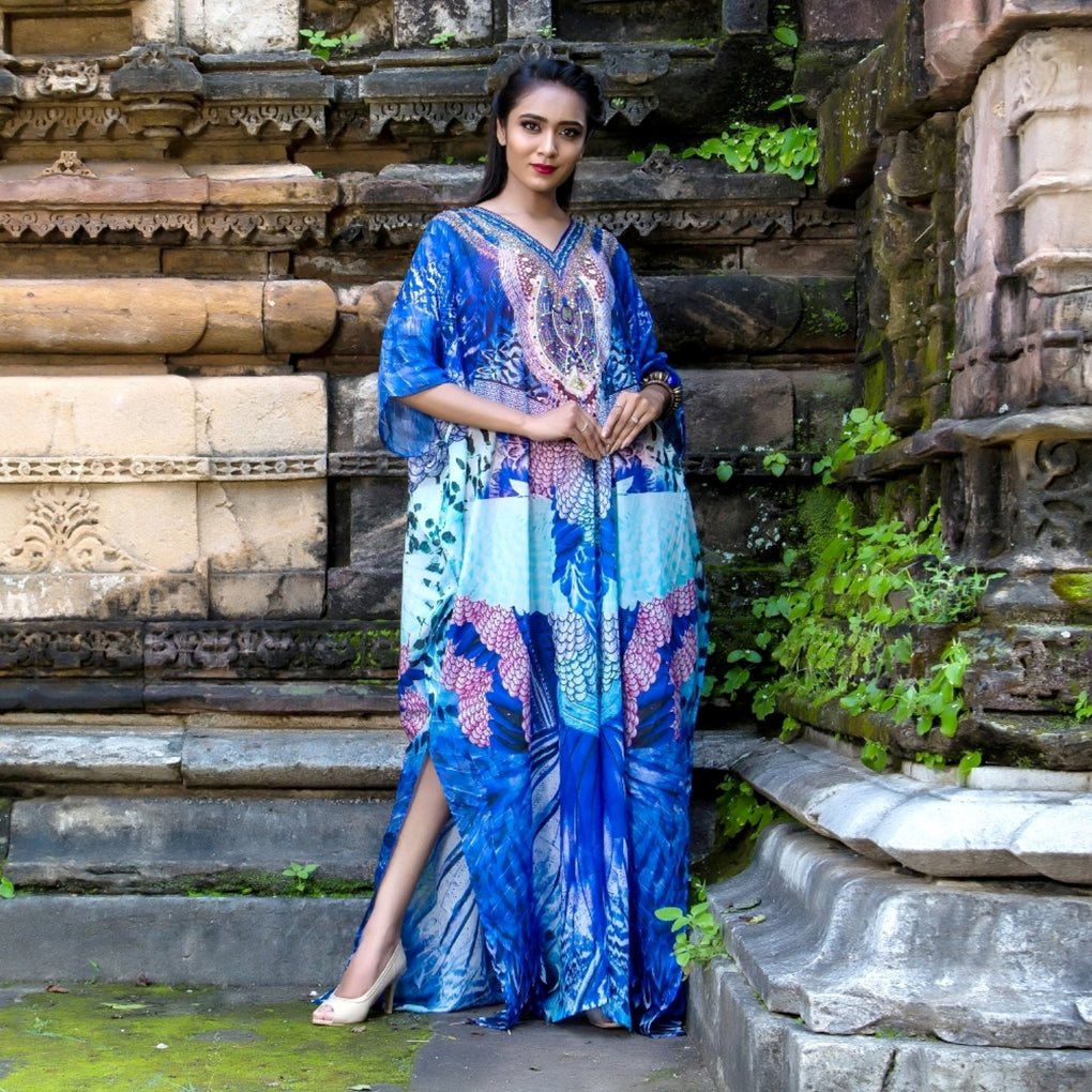 Experience the Splendor of rich Feathery Print Silk Kaftan with embroidered V Neck - Silk kaftan