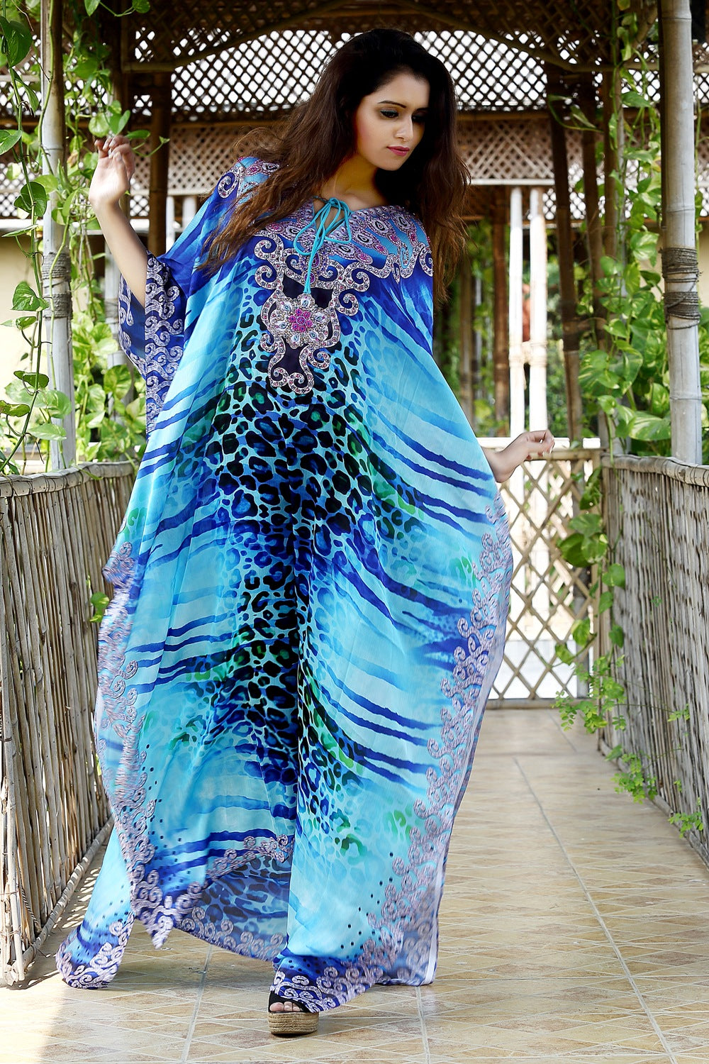 Heavily embellished maxi beach caftan/silk kaftan beach and resort wear handmade latest kaftan fashion plus woman 41 - Silk kaftan