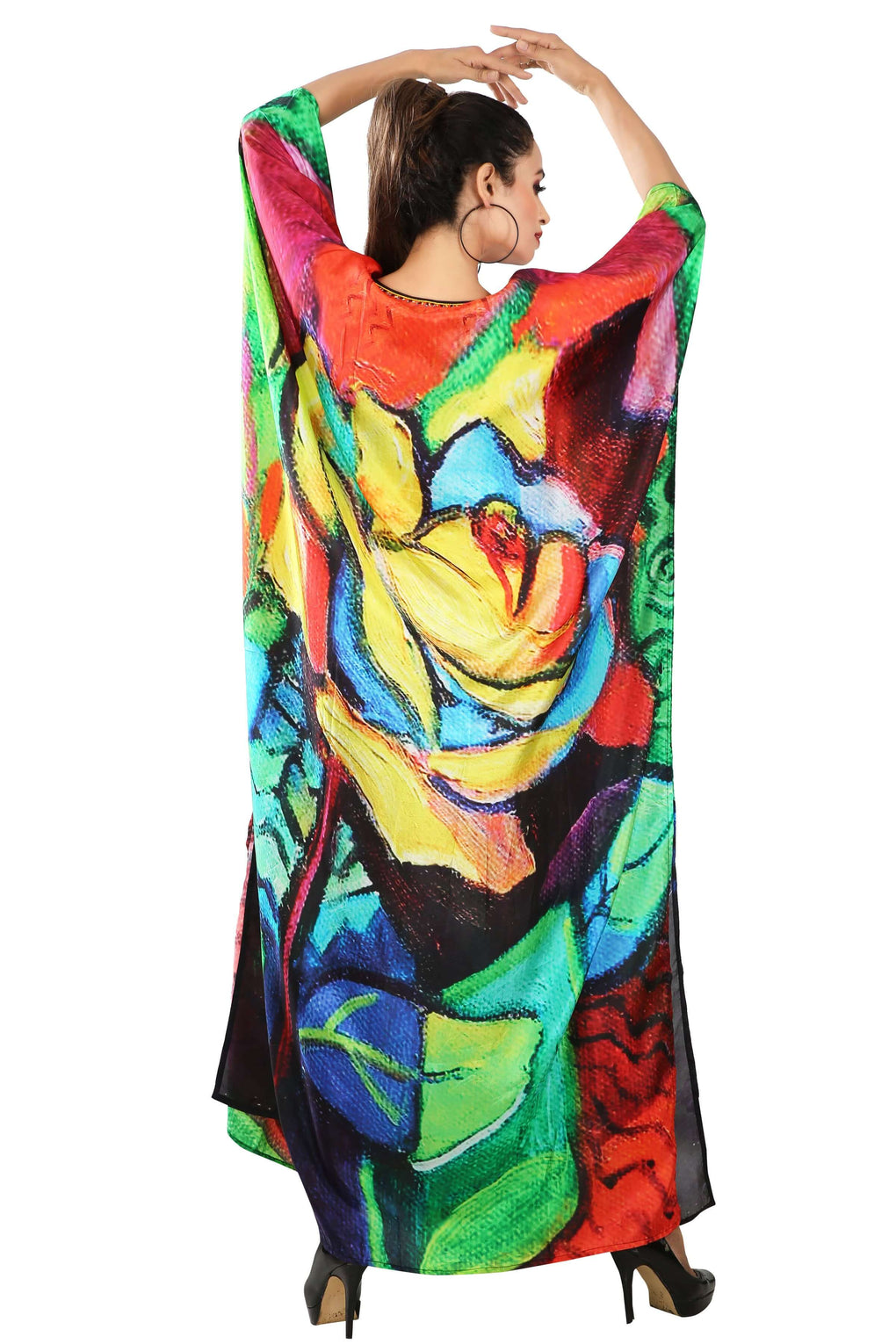 Picasso printed Maxi Long Silk Kaftan Resort Party wear caftan