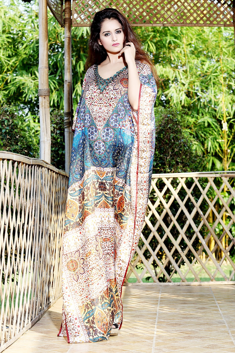 blue kaftan dress
