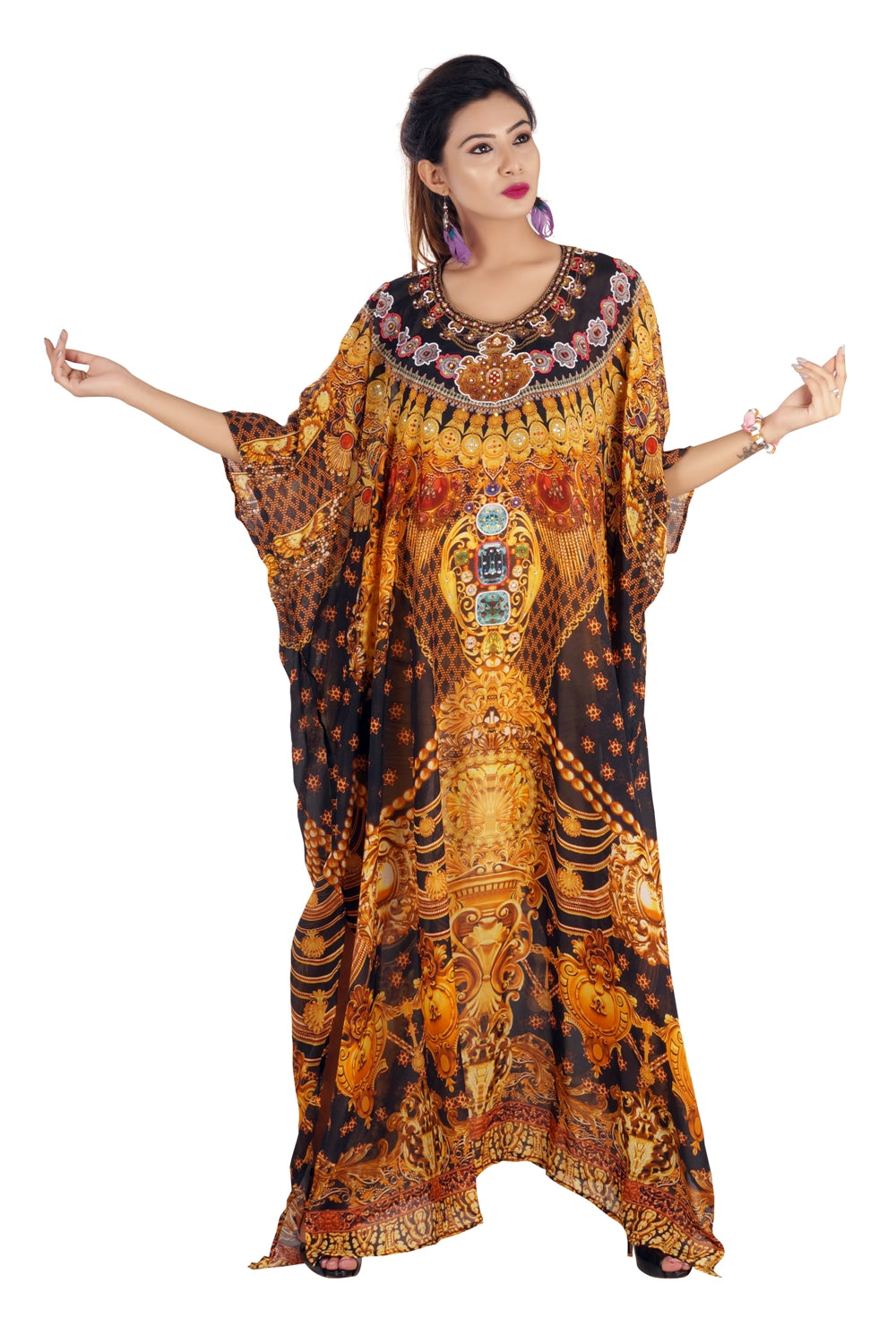 Divine Baroque Scroll Print over Luxe beach kaftan in golden color devotional style - Silk kaftan