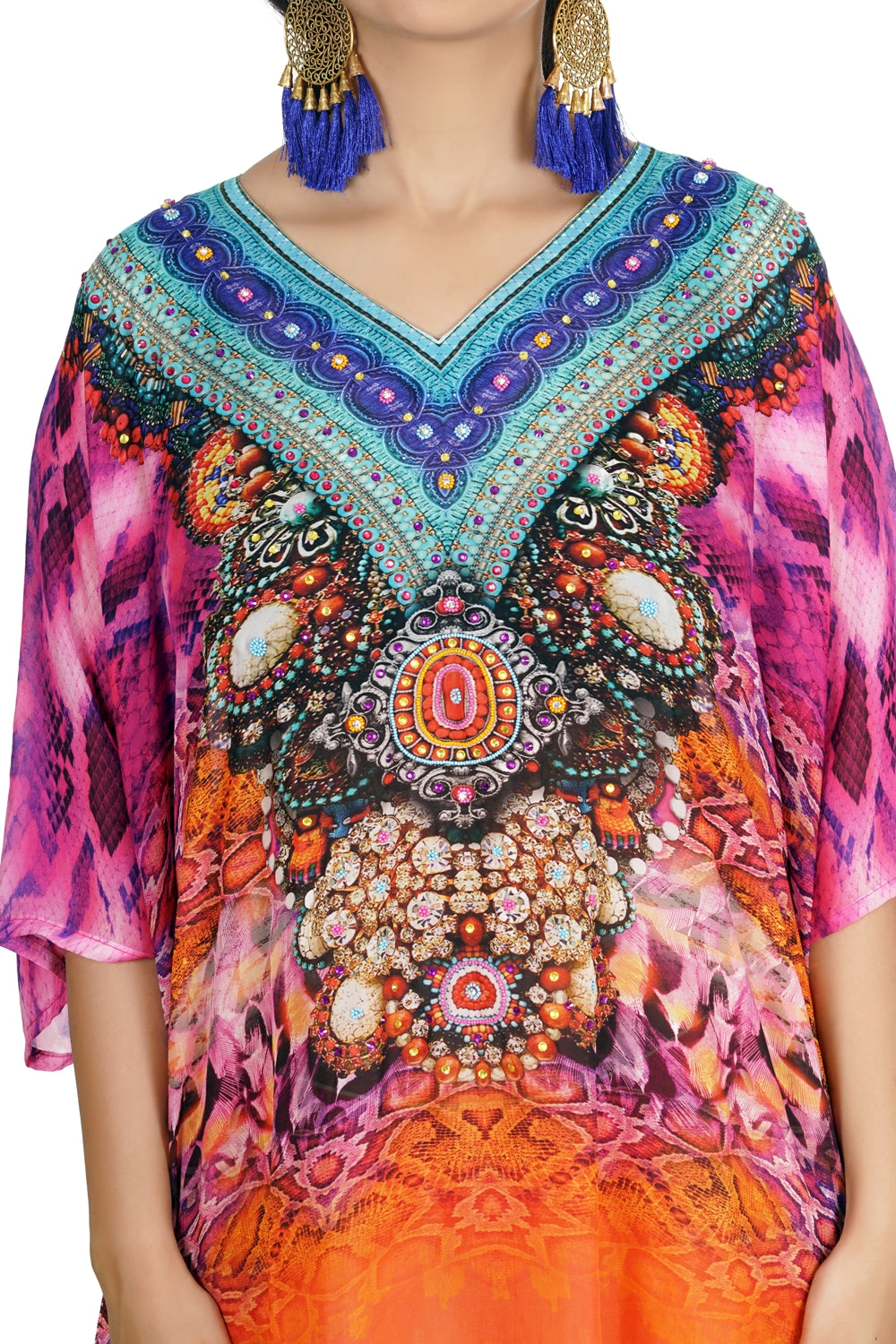 Short Unique Design Feminine Silk Kaftan with Classic Cami Straps printed all over for a formal look Silk caftan tunic - Silk kaftan